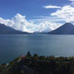 Lake Atitlan from the balcony of Cafe sabor cruceno