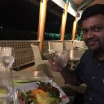 Enjoying dinner @ restaurant with sea view