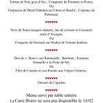 Notre menu St Valentin