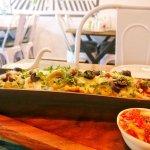 # Loaded Mexican Bean Nachos # Tomato Salsa # Olives # Jalapeños # Avocado