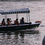 Motor boat in small lake