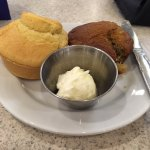 skip the dry cornbread;ask for 2 of the darker muffins