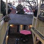 Balconies overlooking courtyard