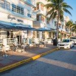 The penguin on famous Ocean Drive strip