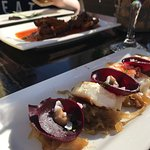Goats cheese, beetroot and caramelised onions