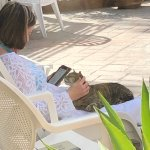Loved having Loretta (the cat) sit with me, while I relaxed next to the pool