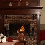 fireplace in dinning room