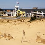 What remains of an old miniature golf course is barely left uncovered at Jockey's Ridge.