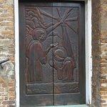 door of church, mahogany wood carving