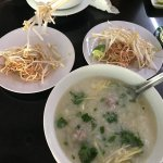 Chau (rice soup), very popular dish.  Can have it with cá (fish) or long (offal) or thịt băm (mi
