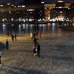 People walking on the frozen lake