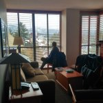 Living area in 2 room suite, with view towards Whistler village