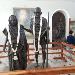 Statues of Gandhiji and his wife Kasturba