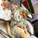 Whole Barramundi with green papaya salad
