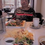 My friend, Linda with the foods, souvenir photo