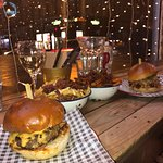 delicious cheeseburger and pulled pork 'Wolf of St Vincent Street' burger