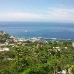Vista espectacular de la bahia y puerto de Capri desde la piazza en las alturas