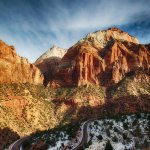 The road leading out of Zion National Park, going toward Kanab, Utah