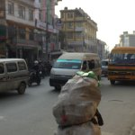 busy street to cross to Thamel