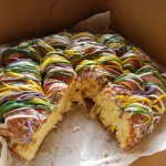 Authentic tasting King Cake from Voodoo Doughnuts! Cream cheese filled!