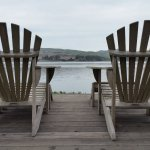 Looking out at Tomales Bay from deck