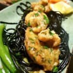 Abalone on black pasta