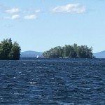 A large sailboat on Moosehead Lake