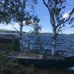 We rented this canoe and paddled to this small island in the lake.