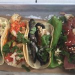Tacos (Baja fish, cauliflower, mushroom, and tuna)