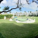 This panorama shows the inner courtyard for the east wing, which flows onto the private beach