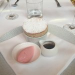 Ginger souffle with rhubarb sorbet and butterscotch sauce