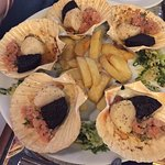 Scallops with black pudding - a lovely combination of flavours and texture