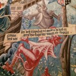 close-up of St. Stephen tapestry