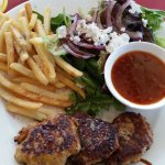 Thai shrimp fritters, fries and salad.Full of flavor, salad was beyond good.