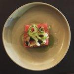yellowfin tuna, compressed watermelon, sheep curd, basil