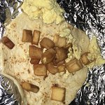 Potato and egg breakfast taco