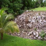 An unrestored Mayan pyramid is in our garden among the tropical vegetation.