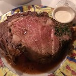 The prime rib was perfectly cooked and delightfully flavored