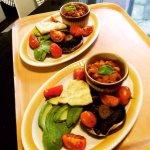 Vegan breakfast - Homemade baked beans & potato bread, with roasted tomatoes, mushroom & avocado