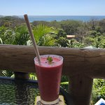 Tea house view with: Raspberry, pineapple, orange & peppermint smoothie (my fave!)