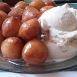 loukoumades with honey, cinnamon and vanilla madagascar ice cream!
