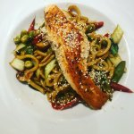 Salmon with udon pasta