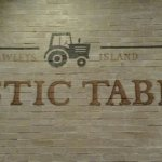 Rustic Table sign on wall in dining area