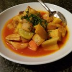 red curry with market vegetables and local white sea bass