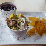 Chica morada, ceviche and plantain chips