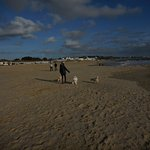 Left hand side of beach. The Isle of Wight on horizon. Dogs only at certain times of the year.