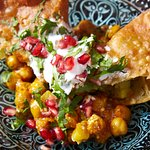 Zouk Samosa Chaat, traditional Pakistani chaat with chick peas, coriander & pomegranate