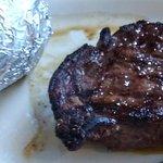 Sirloin steak and baked potato.