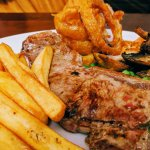 TWO Sirloin Steak meals for £19:95 (the onion rings are gorgeous!)