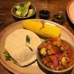 Supergreen pitta, roasted veg, corn on the cob & half avocado – vegan-friendly!